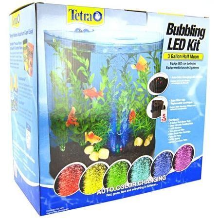 Tetra Bubbling LED Half Moon Aquarium Kit 3 Gallons - (13L x 12.5H x 6.8D)