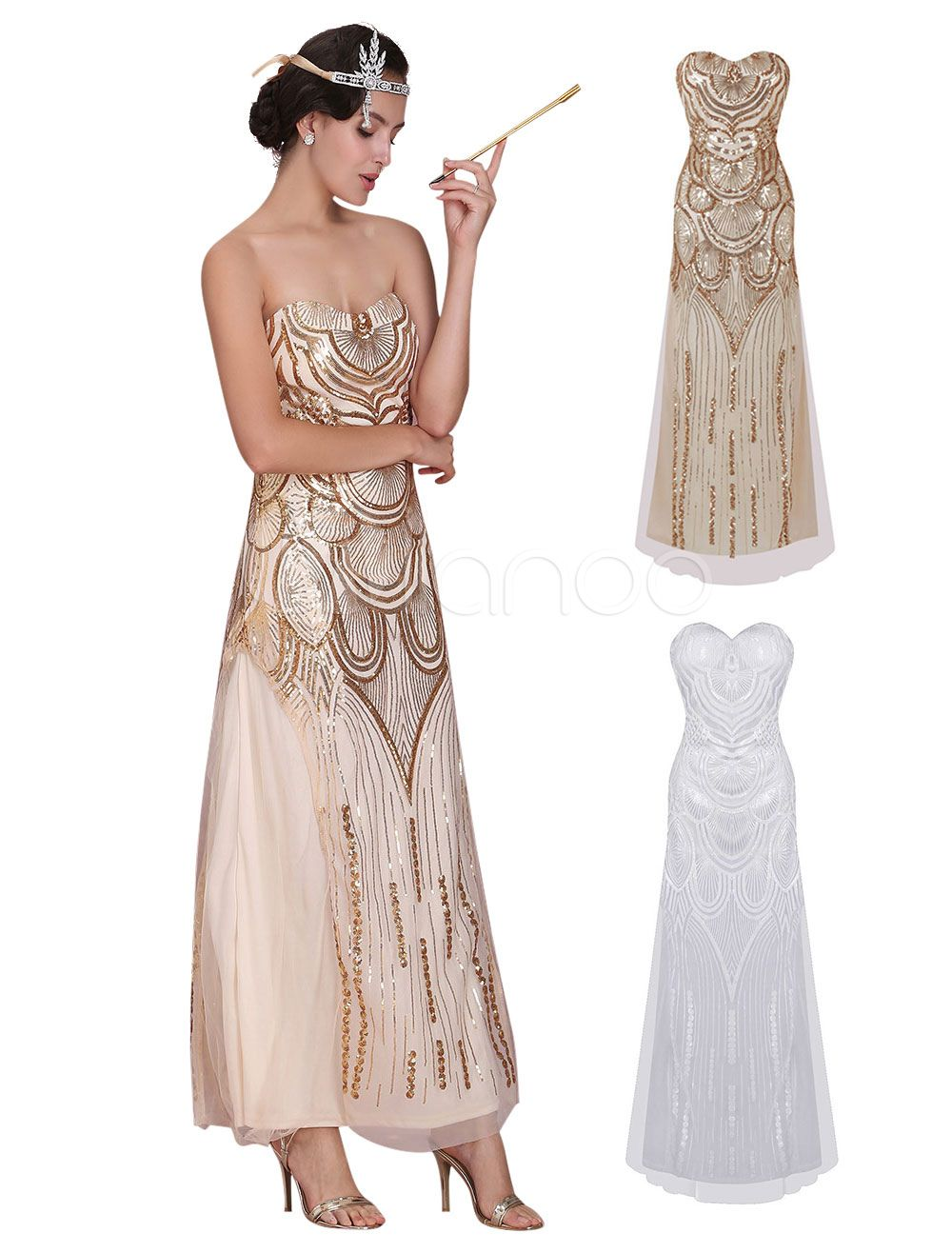 311389b8e93 Great Gatsby Flapper Dress 1920s Vintage Costume Women s Sequined Gold Maxi  Dress Halloween - Price concerns me about quality