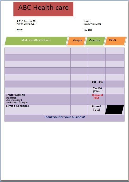 Health Care Invoice Template  Medical Invoice Template