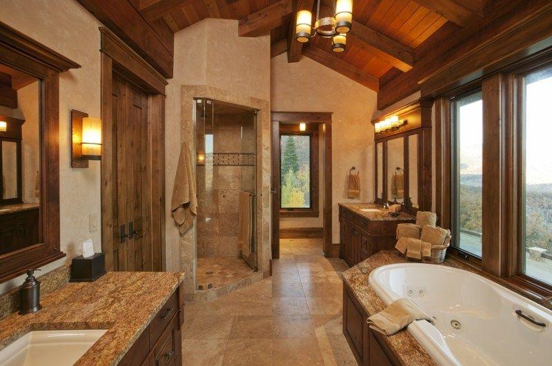 Badezimmer im Landhausstil mit dunklem Holz und Fliesen in Erdt nen ...