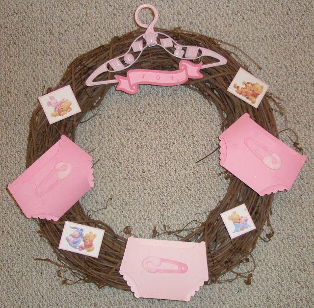 CTMH Artiste CRICUT cartridge diaper wreath with Winnie the Pooh paper.  Ink and Rejoice: Baby Shower Blessings
