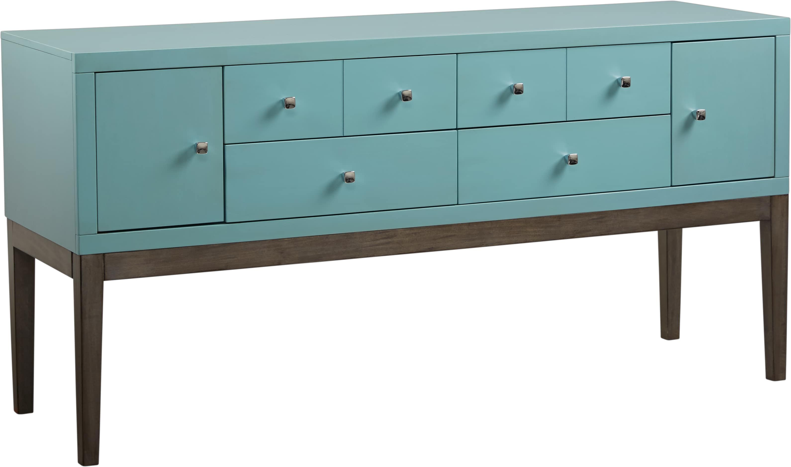 Skyler Spa Blue Credenza Stylish Storage Accent Cabinet Credenza