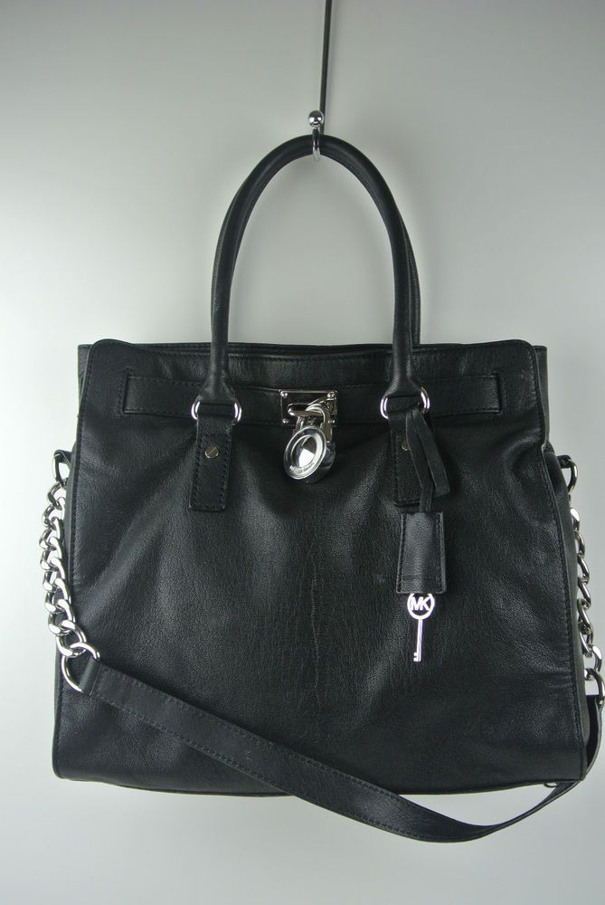 MICHAEL KORS Black Leather Hamilton N/S Tote Handbag  #MichaelKors #TotesShoppers