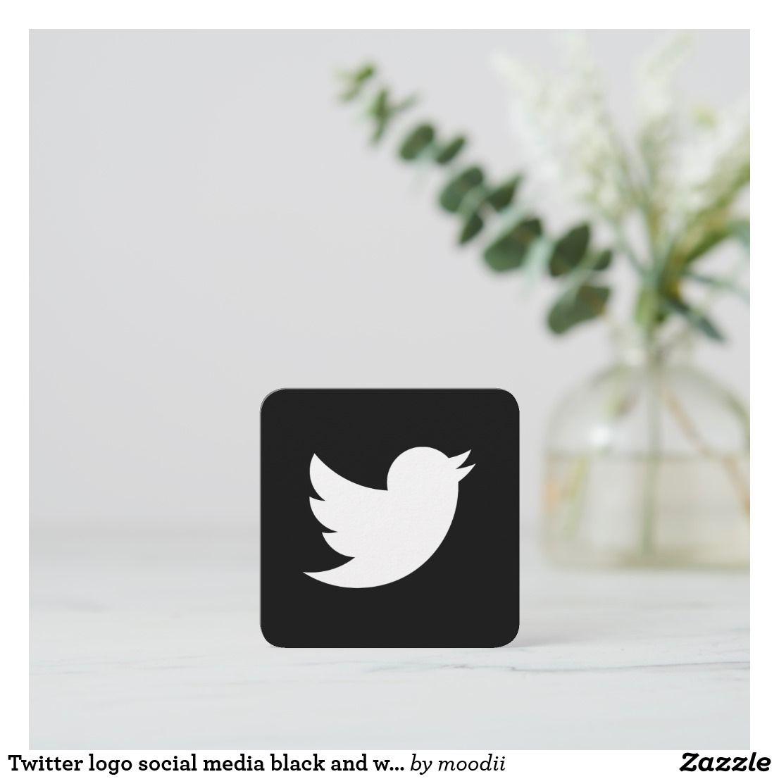 Twitter Logo Social Media Black And White Promo Calling Card Zazzle Com Twitter Logo Calling Cards Business Card Logo