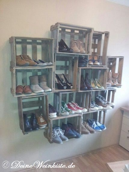 Schuhregal selber bauen weinkisten  schuhregal holzkisten - Bing Bilder | ideen | Pinterest | Bing ...
