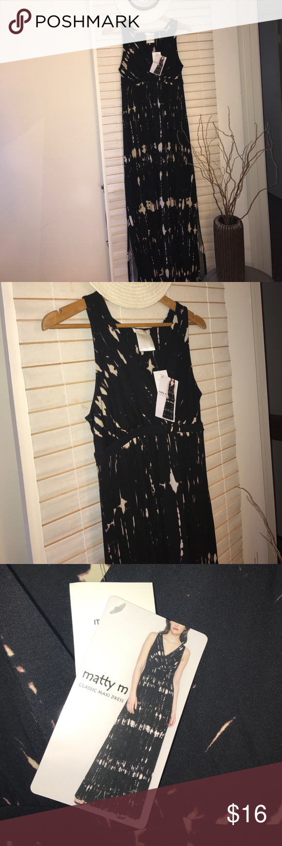 Maxi dress by matty m black sleeveless tiedye print maxi dress