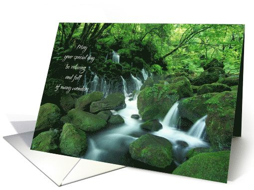 Happy Birthday Waterfall In The Woods Card With Images Wood