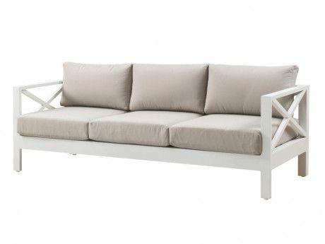 Canape 3 Places Et Table Basse Seram En Aluminium Blanc Et