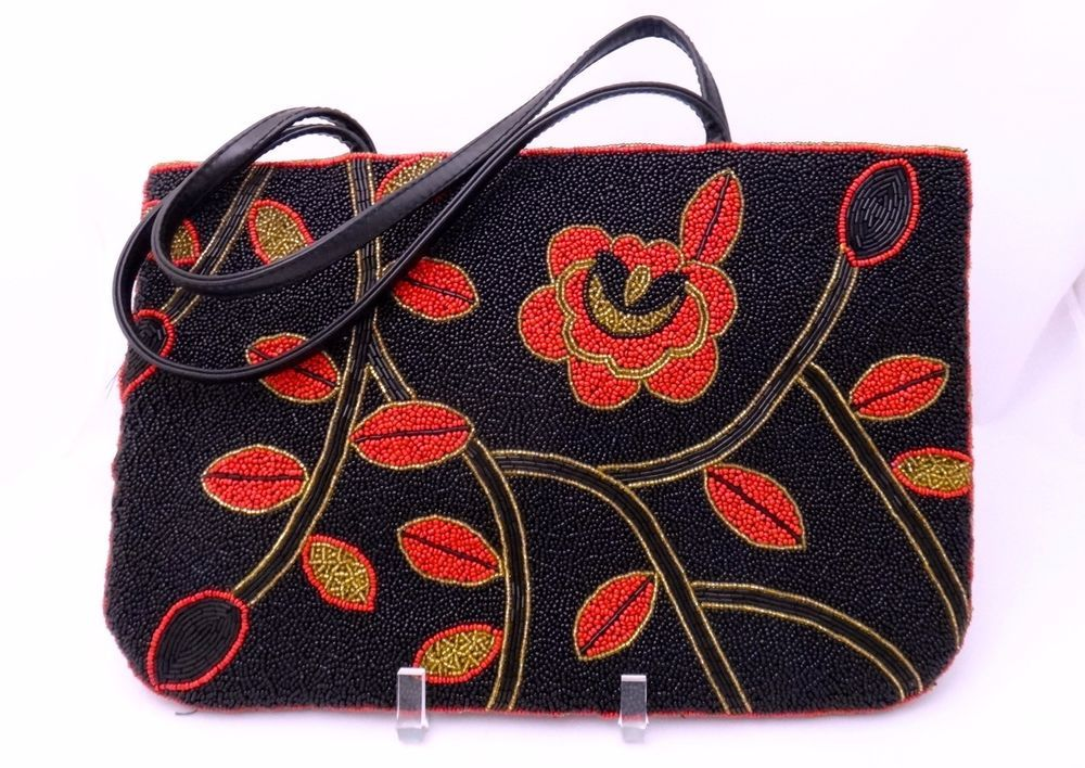 Vintage Floral Glass Beaded Double-handled Purse - 13X9 - Bold Floral Motif!
