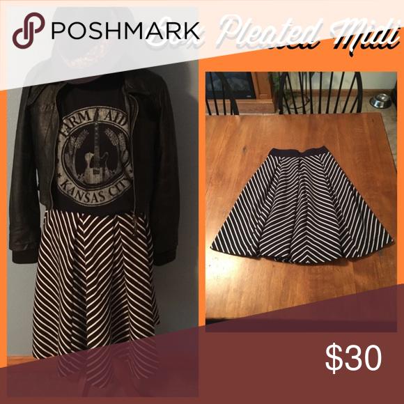 Box Pleated Midi. Dark navy blue and white striped midi skirt. Zips up back. Size S. Skirts Midi