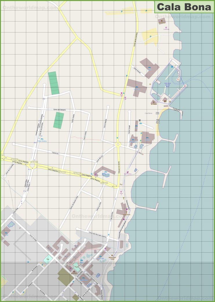 Large detailed map of Cala Bona | Maps
