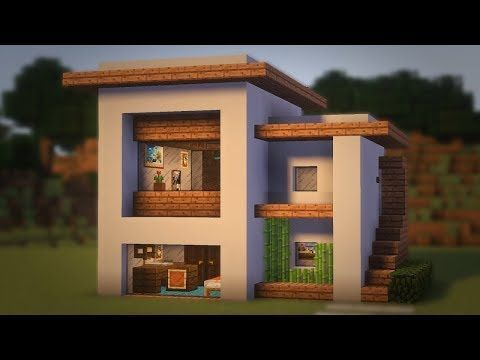 Minecraft How To Build A Small Modern House Tutorial Interior 19 Youtube Easy Minecraft Houses Modern Minecraft Houses Minecraft Modern