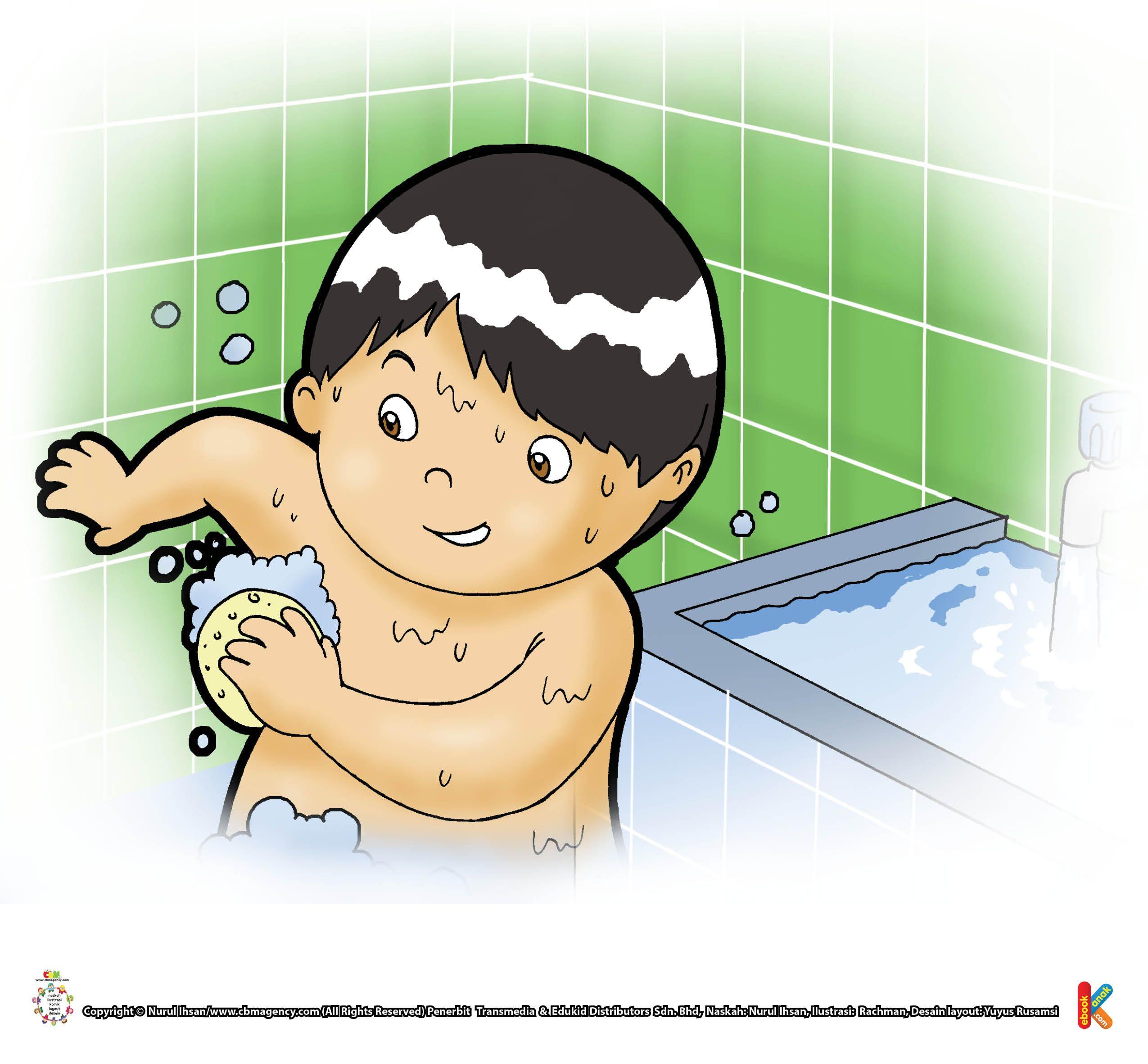 Gambar Kartun Anak Mandi