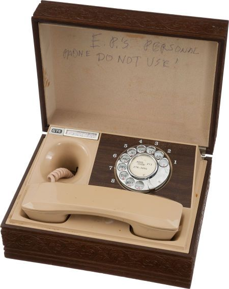 Elvis' Portable Rotary Phone used in His California Home in the early 70's (Note Elvis' written message: EP's Personal Phone..Do Not Use)