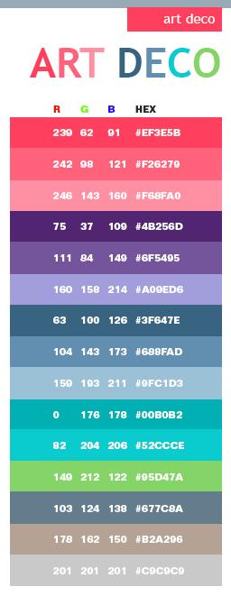 Art Nouveau Color Scheme | Art Deco color schemes, color combinations, color  palettes for