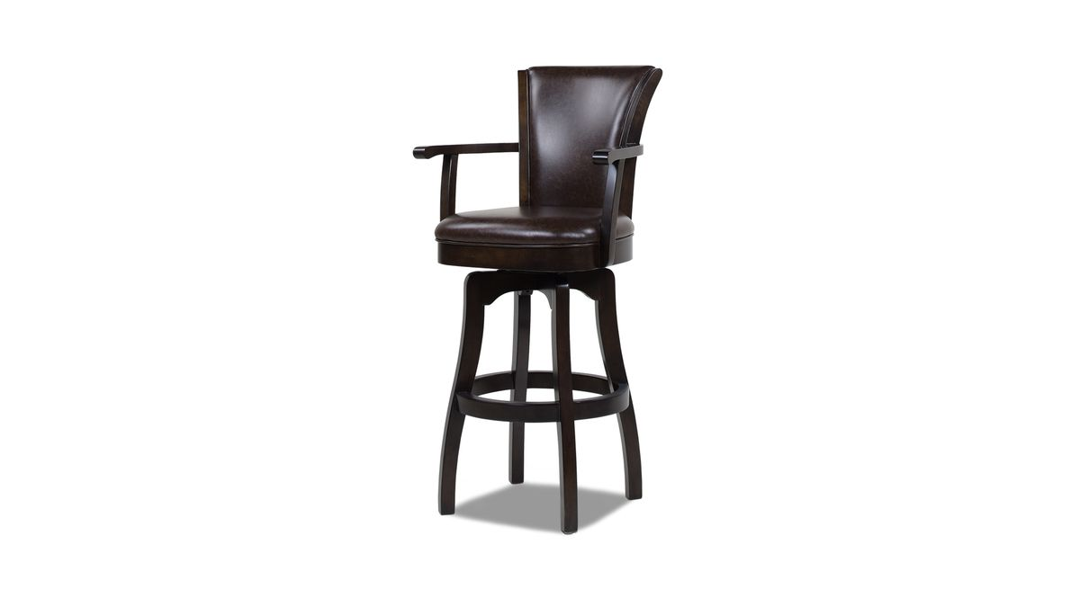 Williams 31 Swivel Bar Stool With Armrests Vintage Brown Faux Leather Wood Bar Stools Black Wooden Chairs Leather Swivel Bar Stools