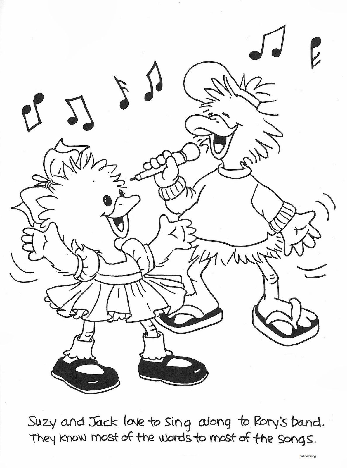 Suzys zoo coloring pages suzy and jack singing