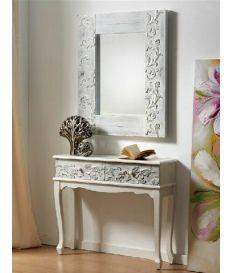 Consola recibidor madera tallada blanca 90 x 30 x 78 cm