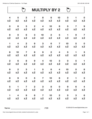 Multiply By 2 Multiplication Math Worksheets With 6
