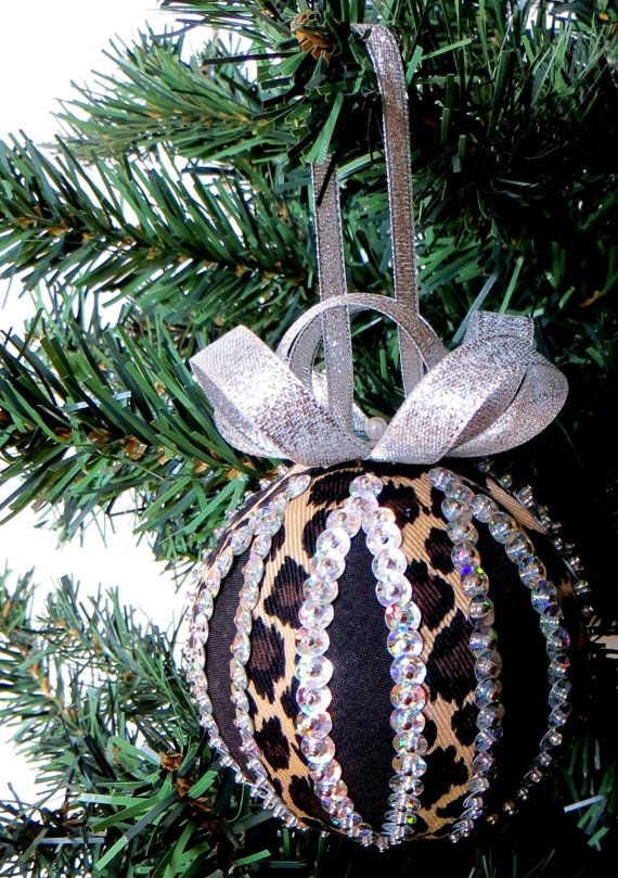 Leopard Stripes and Silver Sequins Christmas Ornament