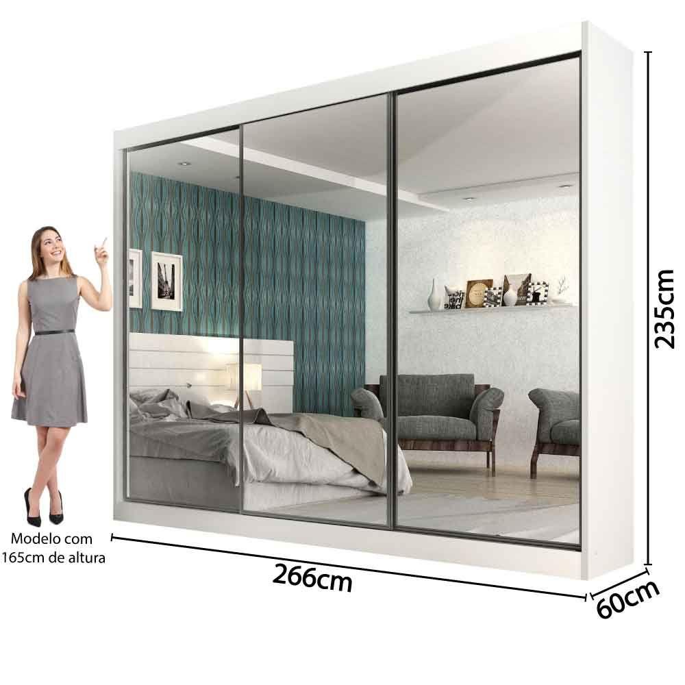 Guarda Roupa Casal com Espelho 3 Portas de correr Exclusive Moverama Branco  - Êbba Móveis bd105ef447