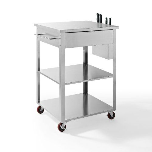 Crosley Culinary Prep Kitchen Cart, Stainless Steel Classic Detail Meeting  Modern Stainless Design In The