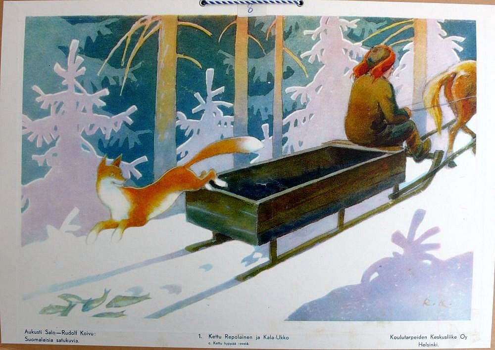 Finnish Artist Rudolf Koivu Fox and Fisherman Fairy Tale Count X Stitch Pattern