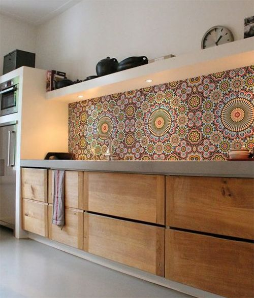 Colorful Kitchen Wallpaper Backsplash Design   Home Decor Styles