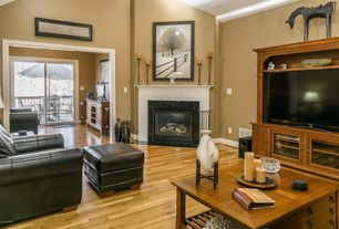 Traditional Living Room with Hardwood floors, Cathedral ceiling, metal fireplace