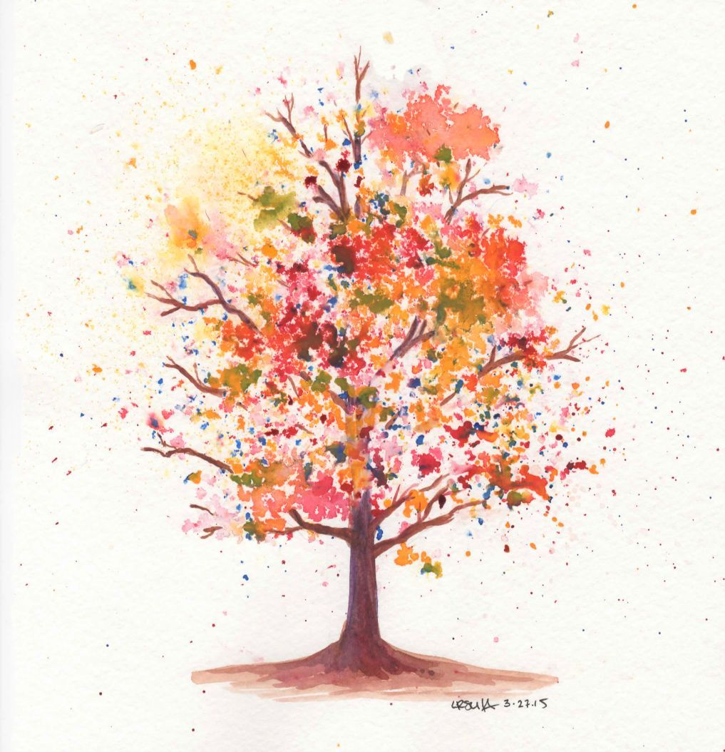 How To Paint A Cherry Tree In Watercolor Splatter Painting Trees