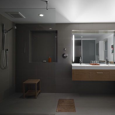Open Shower Design - what a masculine bathroom! So nice for a bachelor's home.