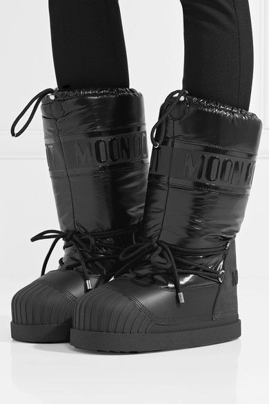 dbd2ef328 Moncler - Moon Boot Venus Shell And Textured-leather Snow Boots - Black