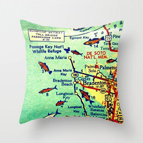 Longboat Key Florida Map.Anna Maria Island Map Pillow Cover Florida Pillows Bradenton Beach