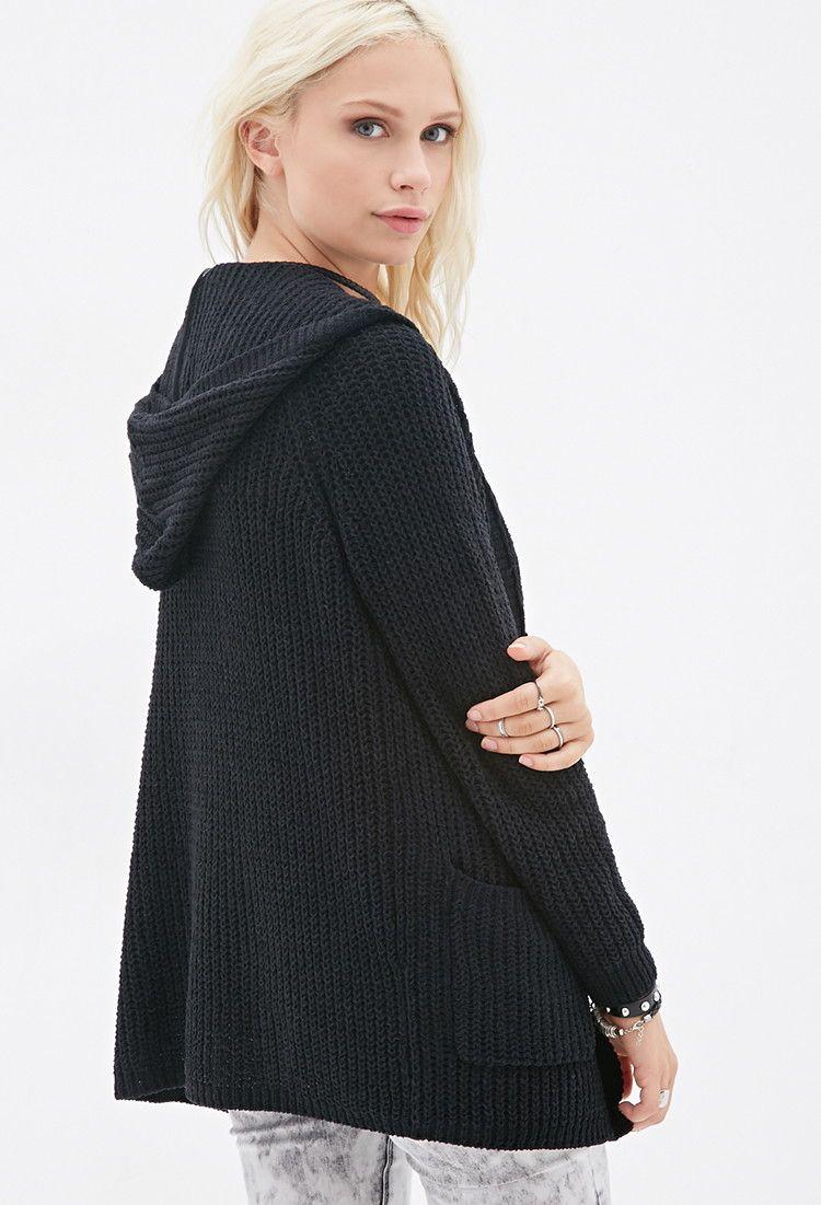 Hooded Chenille Cardigan - Sweatshirts & Knits - 2000117809 - Forever 21 UK