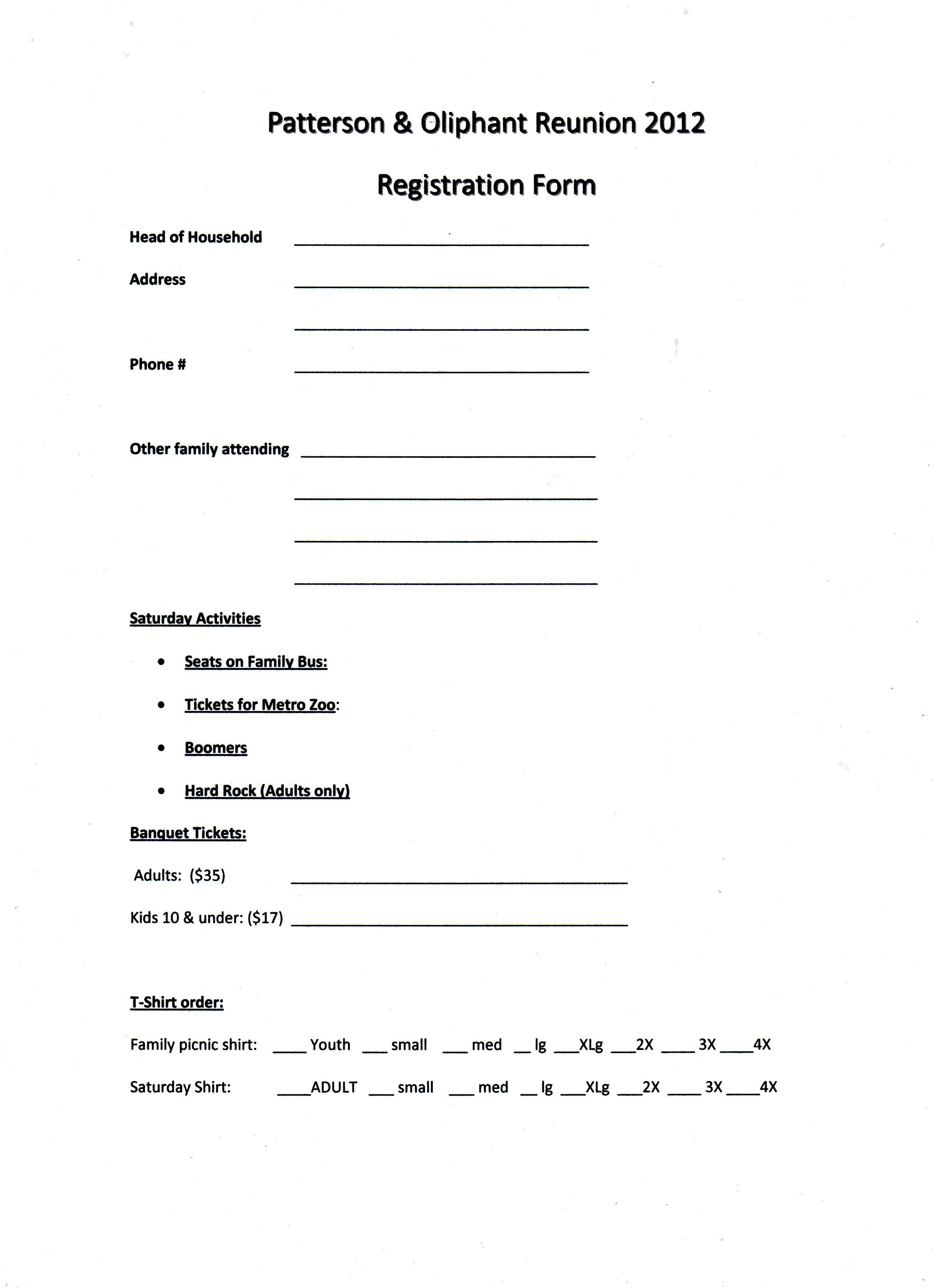Printable Example Of Family Reunion Program