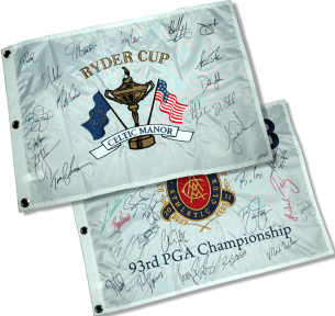 Official 2011 Ryder Cup Flag autographed by Tour Pros (Amino Vital)