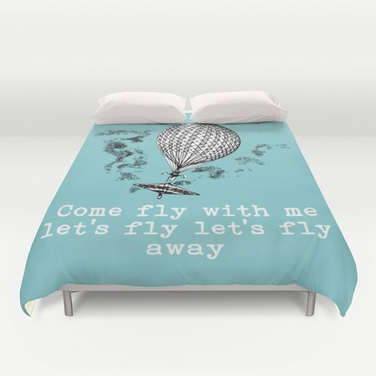 Vintage Inspired Hot Air Balloon Come Fly With Me Duvet Cover By Alaa Studio