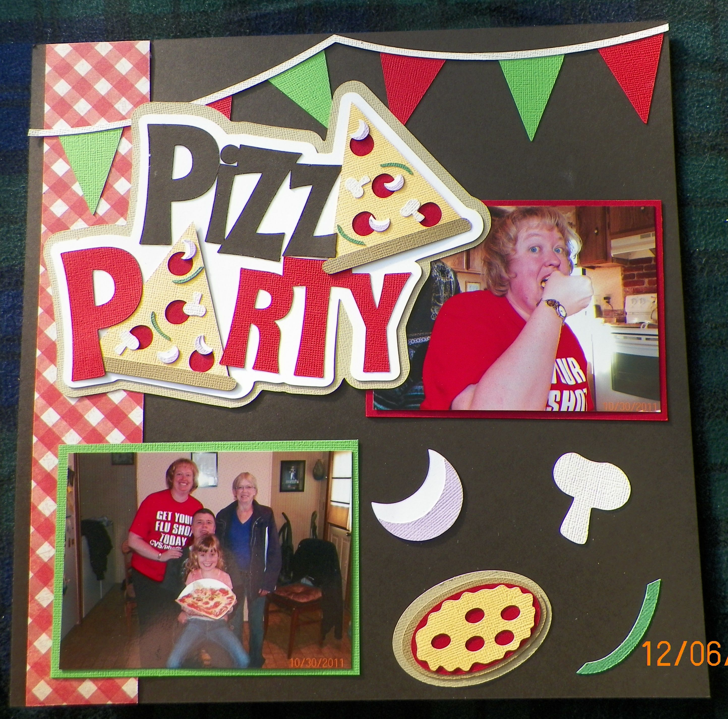 Pizza party scrapbook page simple design scrapbooking junkie birthday scrapbook pages kids scrapbook graduation scrapbook