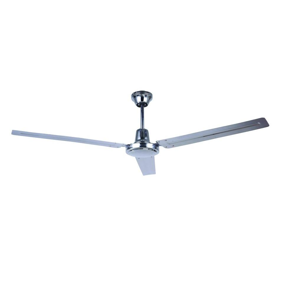 56 In Indoor Chrome Industrial Fan With 3 Metal Blades And 4