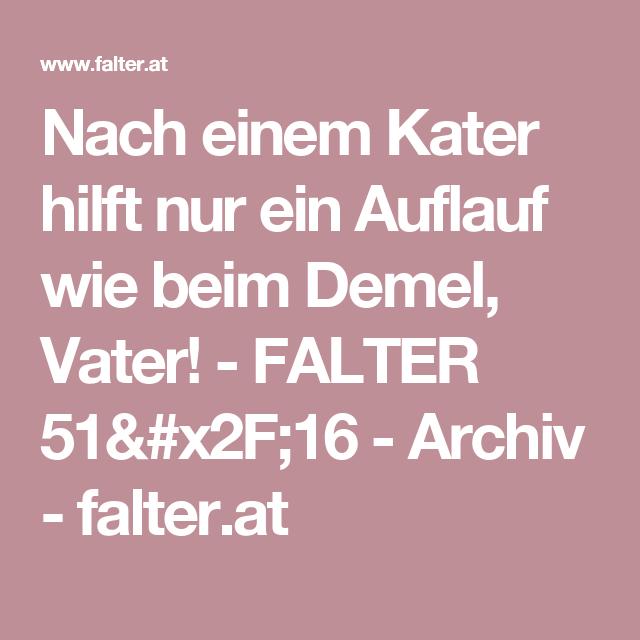 Nach einem Kater hilft nur ein Auflauf wie beim Demel, Vater! - FALTER 51/16 - Archiv - falter.at