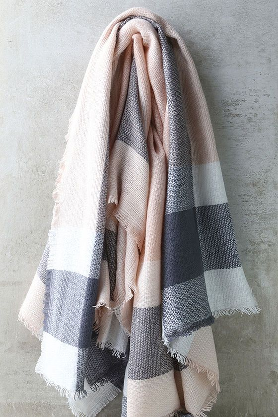 2f3e89f7a299 Cheering Section Blush Pink Plaid Scarf in 2019