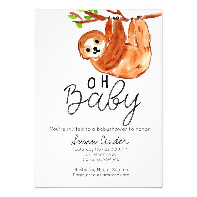 Cute sloth animal babyshower invitation | Zazzle.com #cutesloth