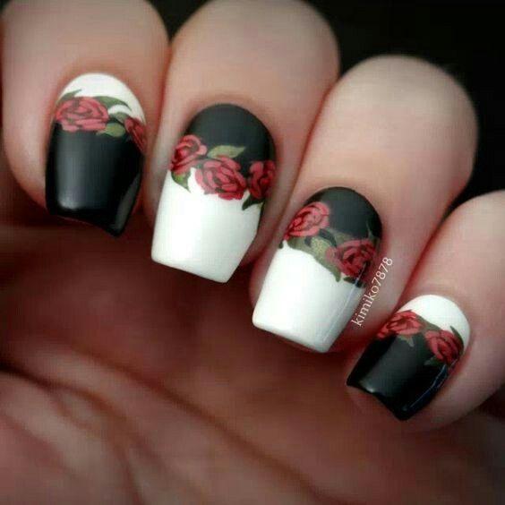 Black White Rose Nail Art Design Nail Designs In 2018 Pinterest