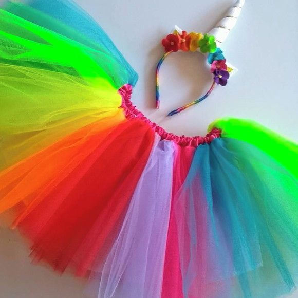 Tutu Saia Tule Fantasia Unicornio Arco Iris Adulto Em 2020 Saia Tule Adulta Fantasias Infantis Carnaval Fantasia Unicornio