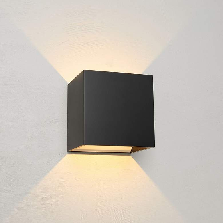 Bruck Qb 4 1 2 H Black Led Wall Sconce In 2020 Led Wall Sconce Exterior Wall Light Wall Sconces