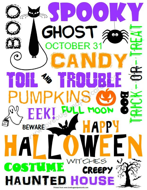 cute spooky and creative this fun halloween word art prtintable is the perfect addition to any halloween decor print it out for free and enjoy