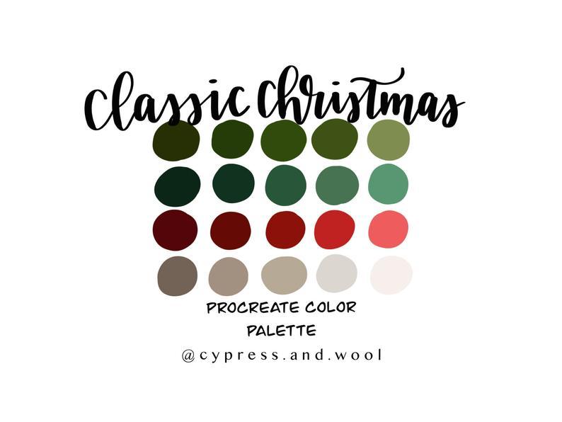 Classic Christmas procreate palette - procreate color ...