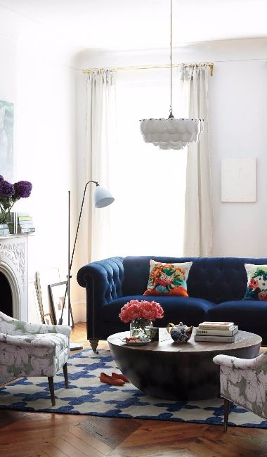 Navy Tufted Sofa  The Everygirl Decorates  Pinterest  Tufted Brilliant Blue Sofa Living Room Design Design Decoration