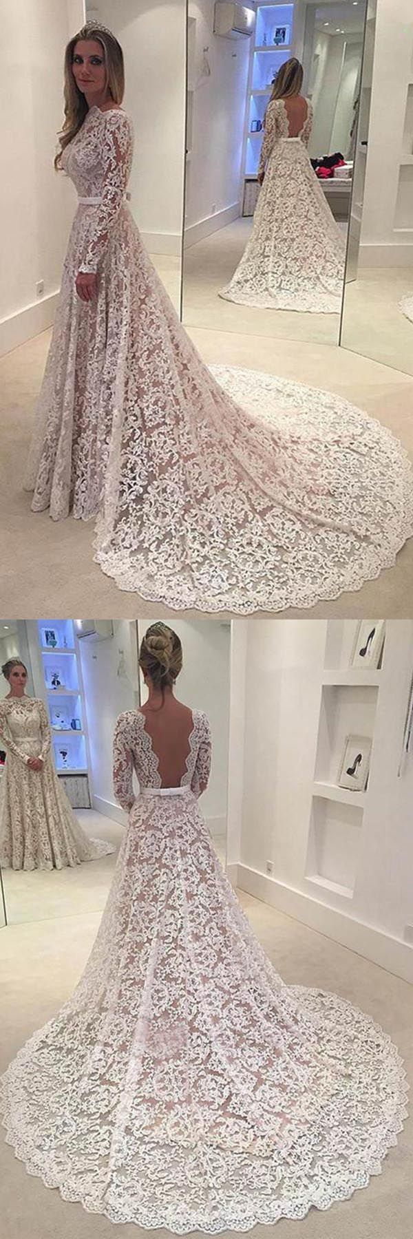 Elegant aline lace backless wedding dress with court train wd