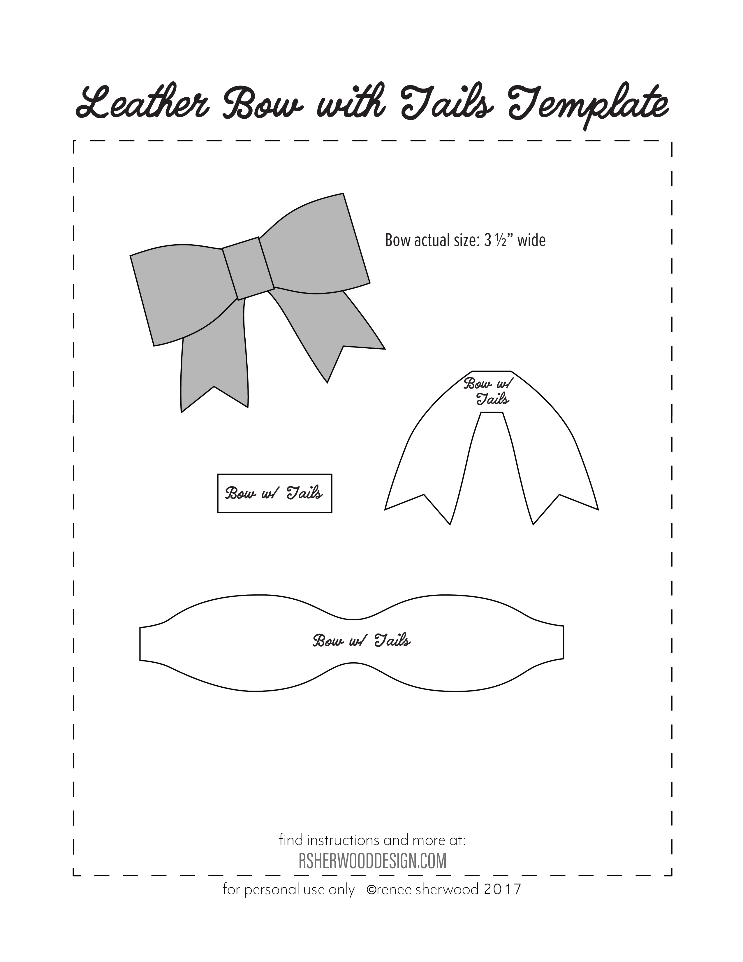 felt bow tie template - free no sew leather or felt bow template download at www